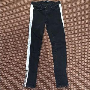 Black and White Stripe Skinny Jeans